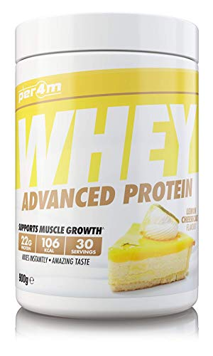 per4m Protein Whey Powder | 30 Servings of High Protein Shake with Amino Acids | for Optimal Nutrition When Training | Low Sugar Gym Supplements (Lemon Cheesecake, 900g)
