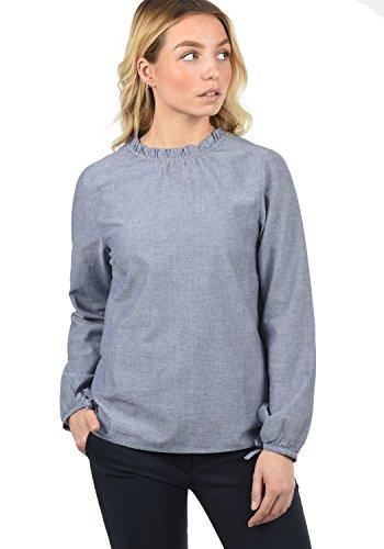 Blend SHE Anni Damen Bluse Shirtbluse Rundhals-Ausschnitt mit Frilkante Regular Fit aus 100% Baumwolle, Größe:S, Farbe:Mood Indigo (20064)