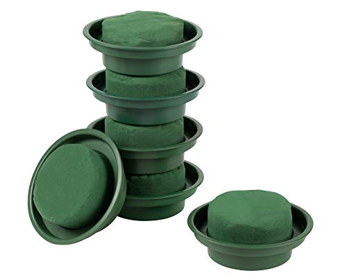 Dry Floral Foam in Bowls for Arts and Crafts (4.7 x 2 Inches, Green, 6 Pack)