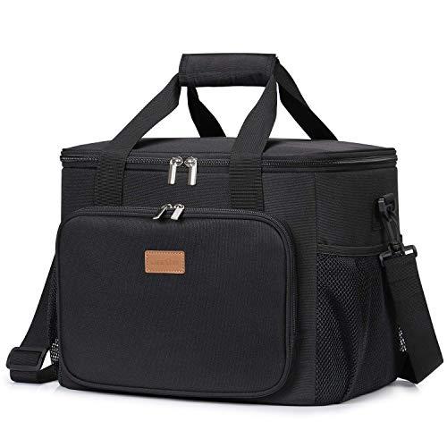 Lifewit 24L Sac Isotherme Lunch Bag Sac de Sourses, Sac-Glacière Cooler Bag Sac de Repas pour Déjeuner/Travail/Ecole/Plage/Pique-Nique, Noir