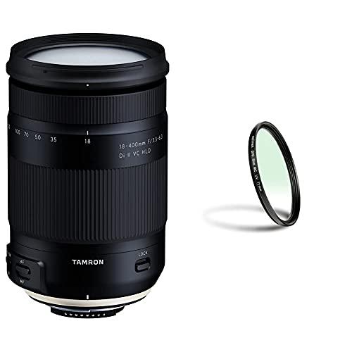 Tamron Ultra-Tele-Megazoom 18-400mm F/3.5-6.3 Di II VC HLD Objektiv für Nikon schwarz & Walimex Pro UV-Filter Slim MC 72 mm (inkl. Schutzhülle)