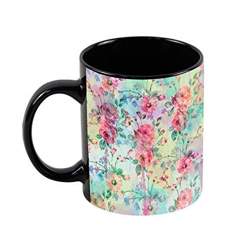 Taza de café de cerámica negra con diseño de rosas románticas y flores de 325 ml, regalo de Navidad para ella, regalo de amigo