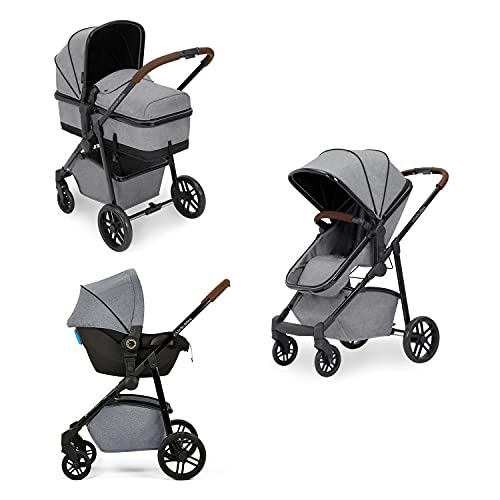Ickle Bubba Moon 3-in-1 Travel System with Astral Car Seat | Bundle Includes Pushchair, Car Seat (Space Grey with Tan Handles)