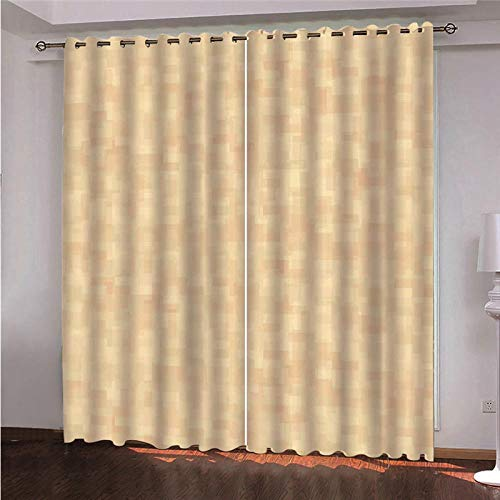 QHDHGR Eyelet Curtains Simple & yellow Curtains Eyelet Super Soft Thermal Insulated Window Treatment Bedroom Blackout Eyelet Blackout Curtains for Livingroom 2 Panels size: 2 x W46 x H90 Inch