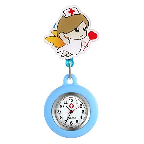 LANCARDO Uhren, Krankenschwester Armbanduhr FOB-Uhr Damen Taschenuhr Analog Quarzuhr aus Legierung Silber weiß (blau)