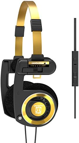Koss Porta Pro Limited Edition Black Gold On-Ear Headphones, in-Line Microphone, Volume Control and Touch Remote Control, Includes Hard Carrying Case, Wired with 3.5mm Plug, Black and Gold