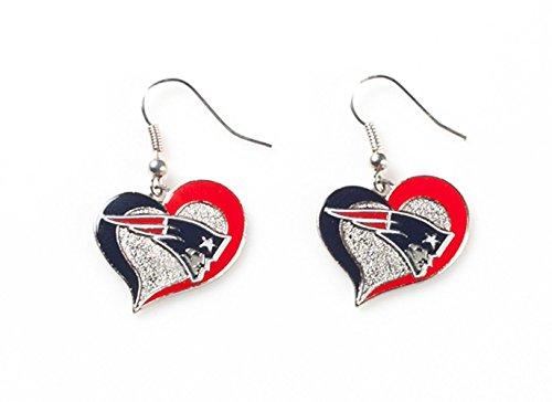 NFL New England Patriots Swirl Heart Earrings