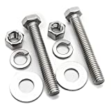 (10 Sets) 5/16-18x3' Stainless Steel Hex Head Screws Bolts, Nuts, Flat & Lock Washers, 18-8 (304) S/S, Fully Threaded by Bolt Fullerkreg