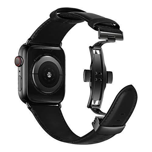 iBazal Polsbanden Vervanging voor iWatch 44mm Serie 5 Serie 4/42mm Serie 3 Serie 2 Serie 1 Lederen bandjes met Vlinder Gesp Horlogebandjes Band Armbanden Horlogebandjes Mens - Zwart 42/44