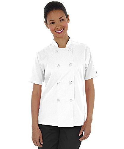 Women's Lightweight Short Sleeve Chef Coat (XS-3X, 3 Colors) (Medium, White)