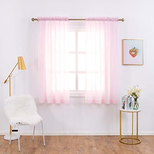 Anjee Sheer Chiffon Window Curtain Panels - Solid Pink Drapes with Rod Pocket for Baby's Bedroom (2-Panels, 52 Wide x 45 inch Long)