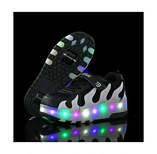 Miarui LED Leuchtend Schuhe mit Rollen Kinder Led Roller Schuhe Sneakers mit Rollen Skateboard Schuhe mit Automatisch Verstellbares Räder mit USB Aufladbare für Kinder Jungen Mädchen,Weiß,32