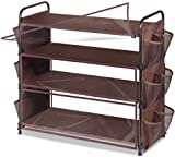 MISSLO Expandable 4 Tier Shoe Rack for Closets Storage Organizer Entryway Shelf with 12 Mesh Side Pockets, Bronze