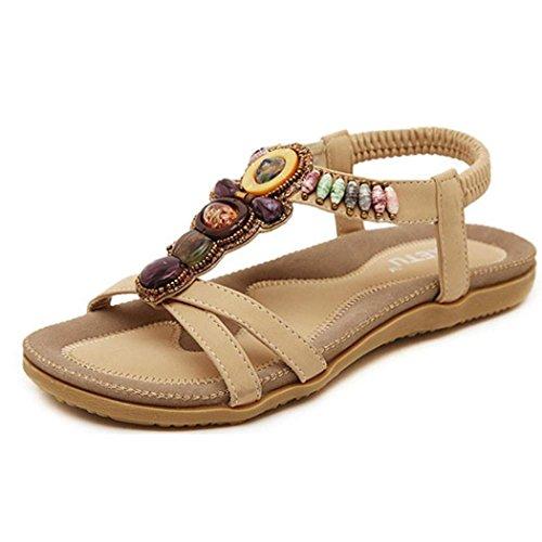 VJGOAL Damen Sandalen, Frauen Mädchen böhmischen Mode Flache beiläufige Sandalen Strand Sommer Flache Schuhe Frau Geschenk (41 EU, U-Khaki)