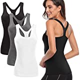 TELALEO Tank Tops for Women, Workout Athletic Racerback Tank Tops for Basic Activewear, Sleeveless Dry Fit Shirts 3 Pack Black Gray White XL