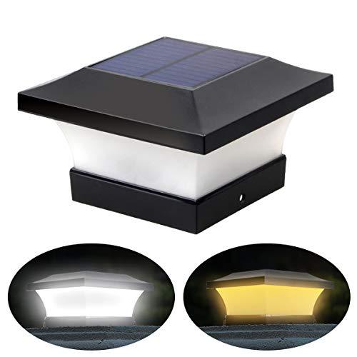 2 Beleuchtungsfarben Einstellbare Solar LED Pfostenlichter Wasserdichte Garten Außenpfosten Kappenlampe für 10x10 cm Holzpfosten, Deck, Zaun (Tageslichtweiß 6000K und Warmweiß 3000k)