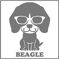 エブリーペット めがね犬ステッカー(シルバー) ビーグル(通常サイズ)