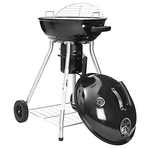 Songmics GBQ18BKV1, kogelbarbecue met deksel en thermometer, 4 poten, met wielen, Ø 44 cm geëmailleerde staande barbecue met legrooster, inklapbaar rooster, met handgreep, zwart