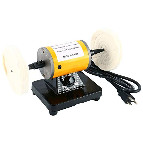YaeTek Dual 4-1/4' Polisher Polishing Buffer Buffing Bench Top Machine Jeweler Mini Jewelry Bench Polisher