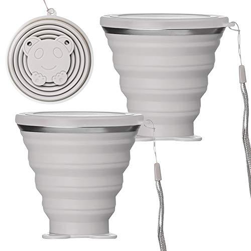 BONH 2 vasos plegables de silicona de calidad alimentaria, vasos de viaje creativos para exteriores, viajes, camping