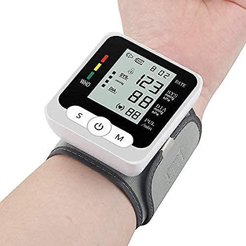 WERTY Monitor de presión Arterial de muñeca automática, Pantalla LCD Grande y Memoria de lecturas 2x99, Voz Inteligente - Detector de latidos y hipertensión Irregulares