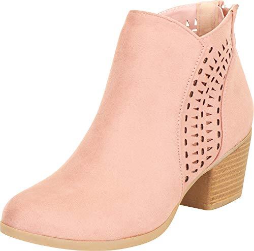 Cambridge Select Damen Western-Stiefelette mit Laserausschnitt und Blockabsatz, Pink (Mauve Imsu), 37 EU
