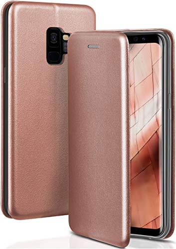 ONEFLOW Handyhülle kompatibel mit Samsung Galaxy S9 - Hülle klappbar, Handytasche mit Kartenfach, Flip Hülle Call Funktion, Klapphülle in Leder Optik, Rosegold
