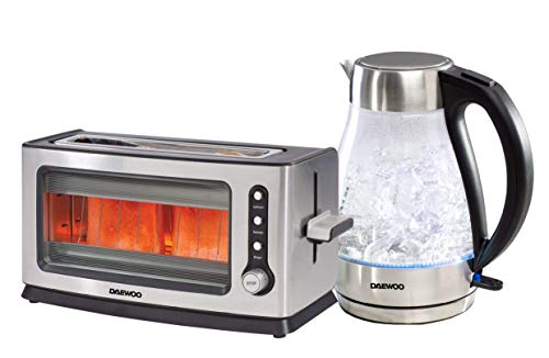 Daewoo Stainless Steel Kettle and Toaster Twin Pack Set, 18/10, Glass Kettle & Toaster