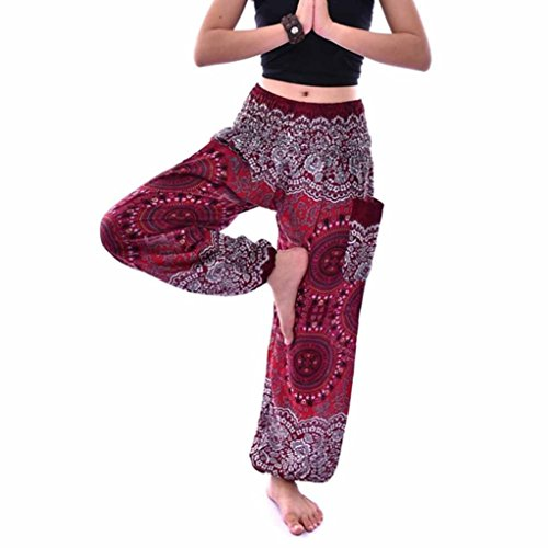 URSING Unisex Thai Harem Hosen Vintage Retro Boho Festival Hippie Smock Hohe Taille Lang Hosen Yoga Hosen Sommerhosen Damenhosen Freizeit Hose Sporthosen für Männer Frauen (Free Size, Wein)