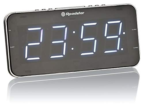 Roadstar CLR-2615 Uhrenradio/Radiowecker im schlanken Design, mit großem LED-Display, Zwei Weckzeiten und Schlaf Timer, 20 Senderspeicher, Radio-Tuner, schwarz