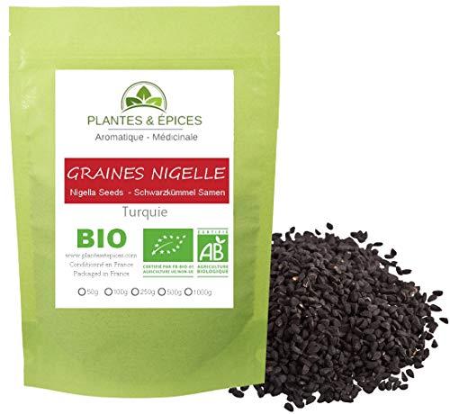Plantes & Epices - Graines de Nigelle Cumin Noir Qualité BIO - Sachet Fraîcheur Biodégradable Refermable (100g)