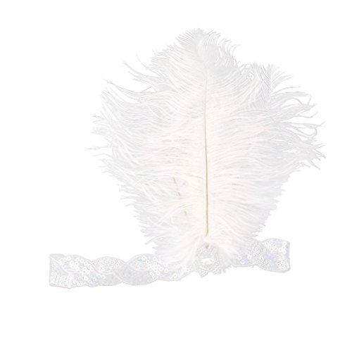 IPOTCH Strass Feder Stirnband Haarband Pfauenfeder 1920s 20er Gatsby Kopfband Kopfschmuck Damen Kostüm Accessoires - Weiß