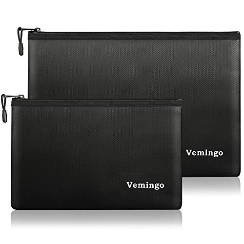 Upgraded Fireproof Document Bag 2 Pack, Vemingo Waterproof Fireproof Safe Storage Pouch for Money...
