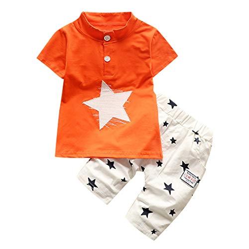 Yazidan 2pcs Baby Jungen Kinder Kurzarm Star Cartoon Gedrückt Trainingsanzug Kleidung Set Jungen Star Kurzarm Shorts Zweiteiler