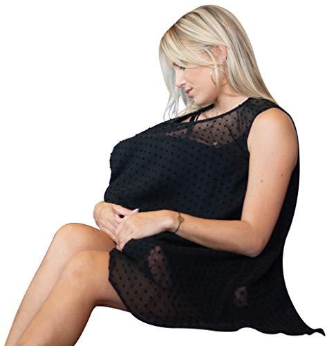 EMMA MOE Premium Nursing Cover - Fashion and Trendy Breastfeeding Cover with Unique and Original Design - Black Evening