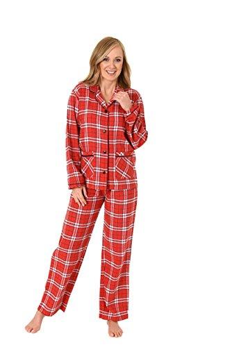 Normann Damen Flanell Pyjama Langarm Karodesign - 271 201 95 001, Größe:48/50;Farbe:rot
