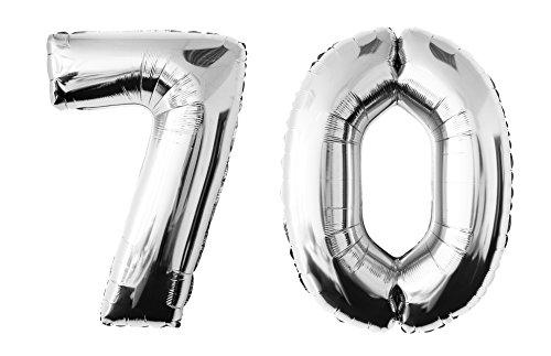 Folienballon 70 silber Zahlenballon Heliumballon Riesenzahl Luftballon Party Kinder-Geburtstag