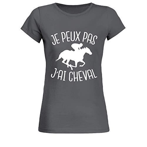 T-Shirt Femme Equitation Je Peux Pas J'Ai Cheval - Gris Anthracite - L