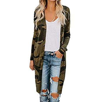 Cardigan Sweaters for Women Plus Size,Women Boho Long Sleeve Open Front Knit Cardigan with Pockets Bohemian Knitted Sweater Outwear Coat Tops Camouflage