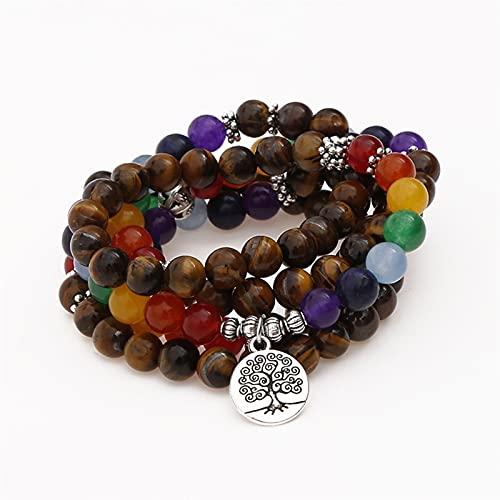 7 Chakras de bolas de piedra pulsera de las mujeres para, piedra natural de la pulsera del grano del tigre de la piedra del ojo pulsera brazalete de vida ajustable árbol Boho joyería yoga meditación r