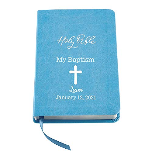 Let's Make Memories Personalized Baptism Baby Bible – Religious Gift for Faith Milestone – Blue Bible – Customize with Any Message