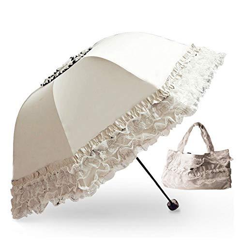 Prinsessspets vintage spets UV sol parasoll fällbart 3D blomma broderi paraply 3 hopfällbara blå regniga dagar, snöiga dagar, soliga dagar finns tillgängliga