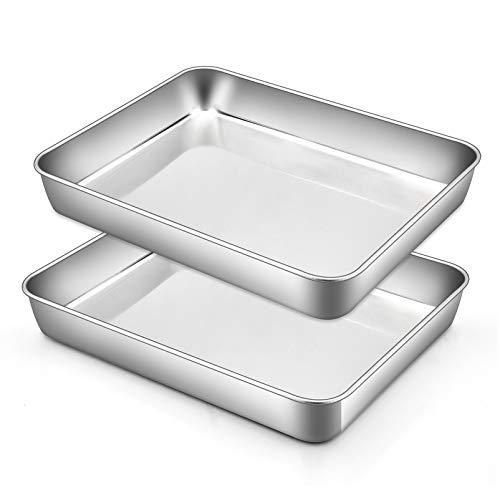 TeamFar Small Lasagna Pan Set of 2, 10.5'' x 8'' x 2'' Stainless Steel Rectangular Brownie Cake Pan For Baking Roasting, Healthy & Durable, Brushed Surface & Dishwasher Safe, Deep Side