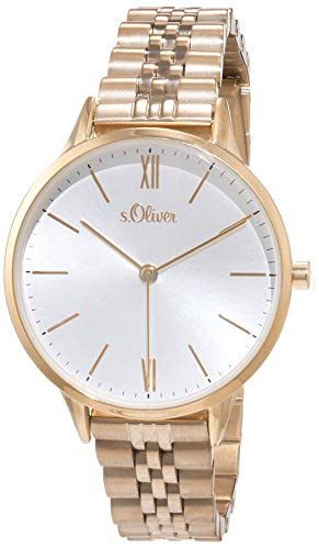 s.Oliver Damen Analog Quarz Uhr mit Edelstahl Armband SO-4211-MQ