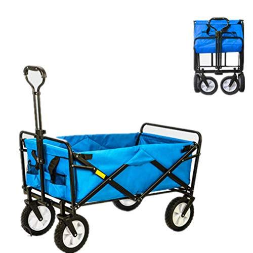 TYP Mall Carro Playa Plegable para Jardín Coche Portátil De Cuatro Ruedas Al Aire Libre Rueda Universal Giratoria De 360 ° Barbacoa Fotografía Pesca Shopping,100X50x75cm,Azul