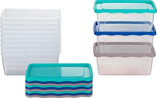 Kigima Frischhaltedosen Gefrierdosen 0,5l (420ml) 12er Set mit Deckel blau/grün/grau