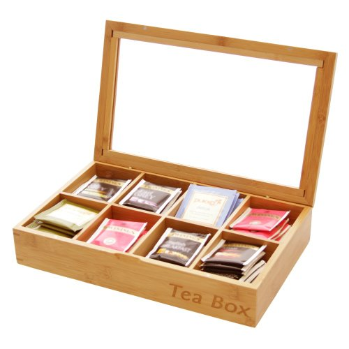Finoak Caja de té, de bambú Natural, Incluye 8Compartimentos