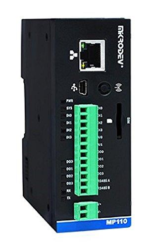 Controlador lógico programable (PLC) - Ethernet, RS485, MQTT, MODBUS, 4 DI, 4 DO, 2 AI, extensión IO hasta 196 puntos, FBD y soporte lógico de escalera- MP110E