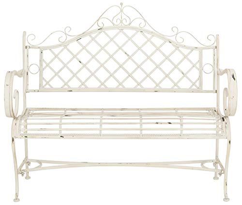 Safavieh PAT5017A Collection Adina Antique White Wrought Iron 51.25' Outdoor Garden Bench
