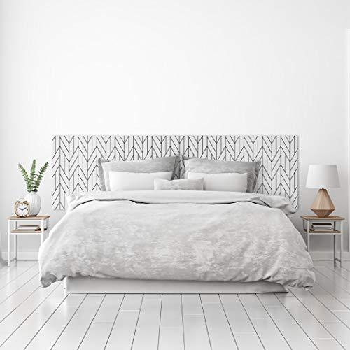 MEGADECOR Cabecero Cama PVC Decorativo Económico Elegante Diseño de Lineas Trenzadas Blaco y Negro Varias Medidas (150 cm x 60 cm)